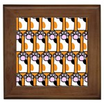 Cute Cat Hand Orange Framed Tiles Front
