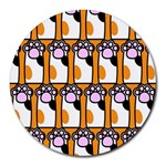 Cute Cat Hand Orange Round Mousepads Front
