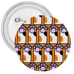 Cute Cat Hand Orange 3  Buttons