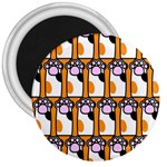 Cute Cat Hand Orange 3  Magnets Front