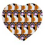 Cute Cat Hand Orange Ornament (Heart)  Front