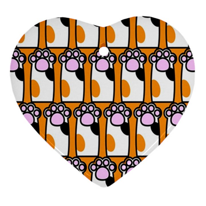 Cute Cat Hand Orange Ornament (Heart)