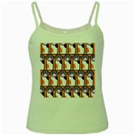 Cute Cat Hand Orange Green Spaghetti Tank Front