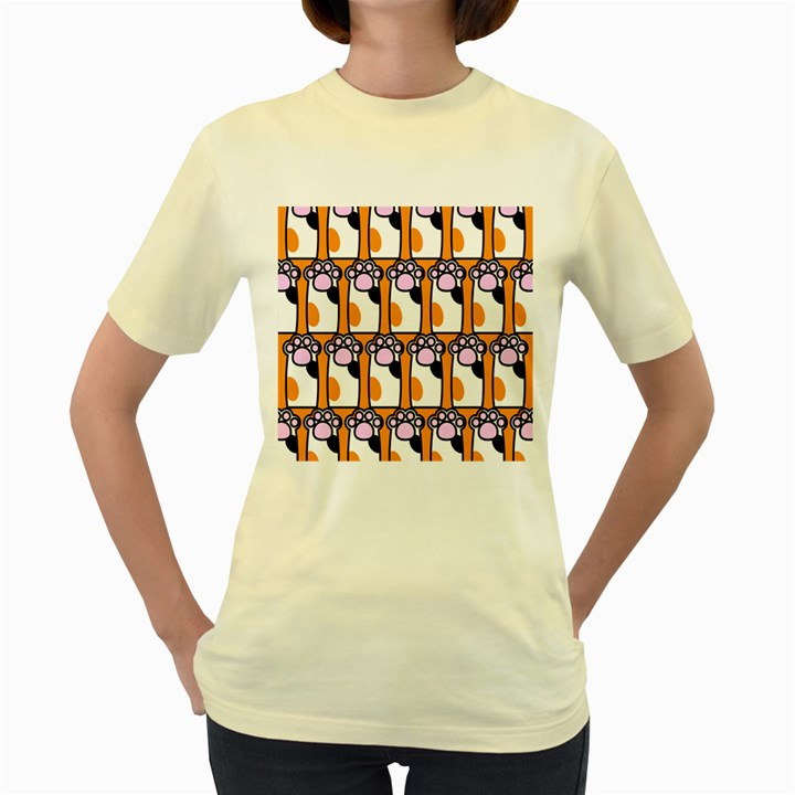 Cute Cat Hand Orange Women s Yellow T-Shirt