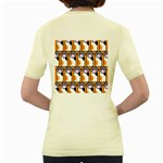 Cute Cat Hand Orange Women s Yellow T-Shirt Back