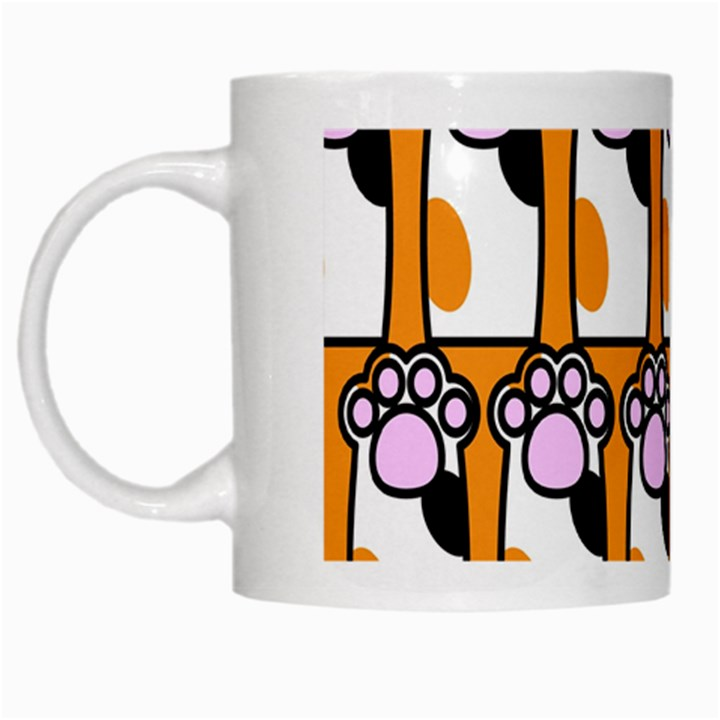 Cute Cat Hand Orange White Mugs