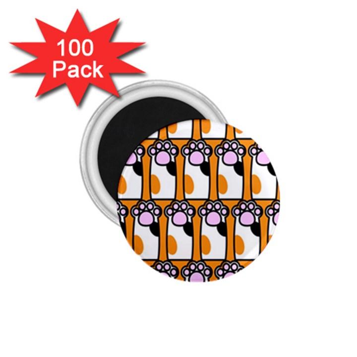 Cute Cat Hand Orange 1.75  Magnets (100 pack)