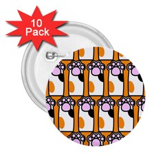 Cute Cat Hand Orange 2 25  Buttons (10 Pack)