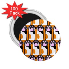 Cute Cat Hand Orange 2.25  Magnets (100 pack)