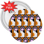 Cute Cat Hand Orange 3  Buttons (10 pack)  Front