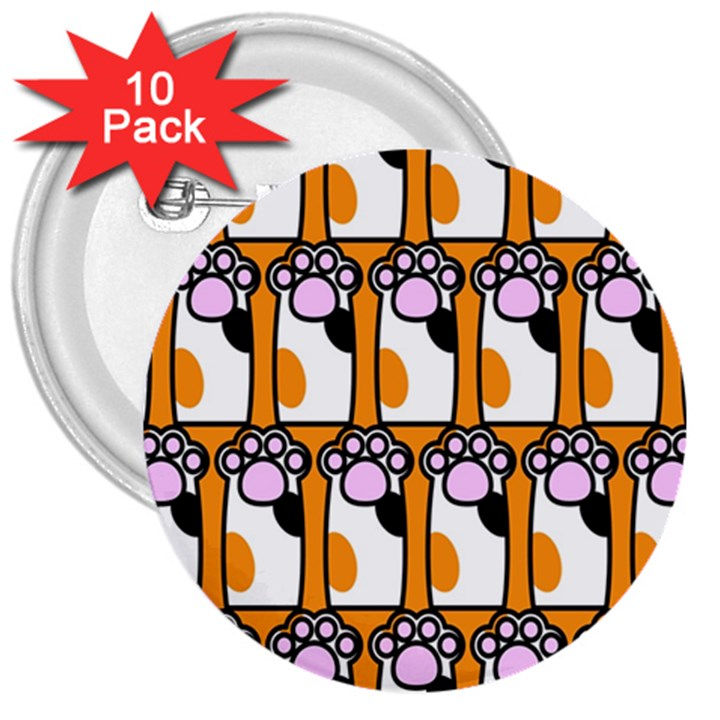 Cute Cat Hand Orange 3  Buttons (10 pack)