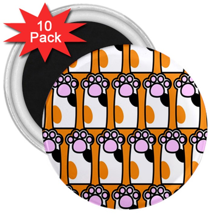 Cute Cat Hand Orange 3  Magnets (10 pack)
