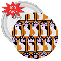 Cute Cat Hand Orange 3  Buttons (100 pack)