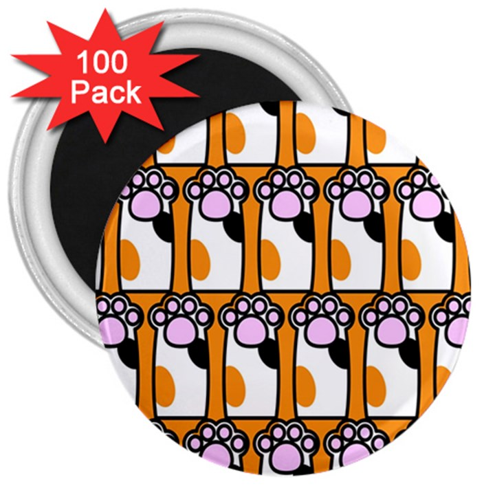 Cute Cat Hand Orange 3  Magnets (100 pack)