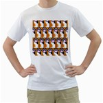 Cute Cat Hand Orange Men s T-Shirt (White) (Two Sided) Front