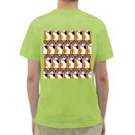 Cute Cat Hand Orange Green T-Shirt Back