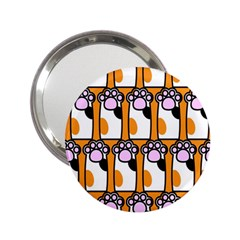 Cute Cat Hand Orange 2.25  Handbag Mirrors