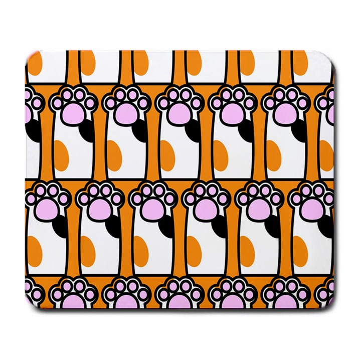 Cute Cat Hand Orange Large Mousepads