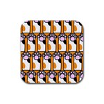 Cute Cat Hand Orange Rubber Coaster (Square)  Front