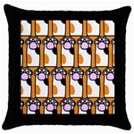 Cute Cat Hand Orange Throw Pillow Case (Black) Front