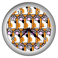 Cute Cat Hand Orange Wall Clocks (Silver)