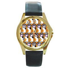 Cute Cat Hand Orange Round Gold Metal Watch