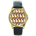 Cute Cat Hand Orange Round Gold Metal Watch Front