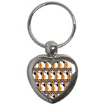Cute Cat Hand Orange Key Chains (Heart)  Front