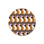 Cute Cat Hand Orange Rubber Coaster (Round)  Front