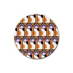 Cute Cat Hand Orange Rubber Round Coaster (4 pack)