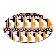 Cute Cat Hand Orange Oval Magnet