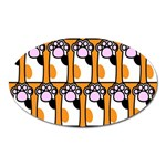 Cute Cat Hand Orange Oval Magnet Front