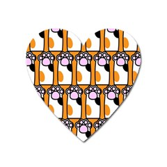 Cute Cat Hand Orange Heart Magnet