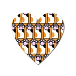 Cute Cat Hand Orange Heart Magnet Front