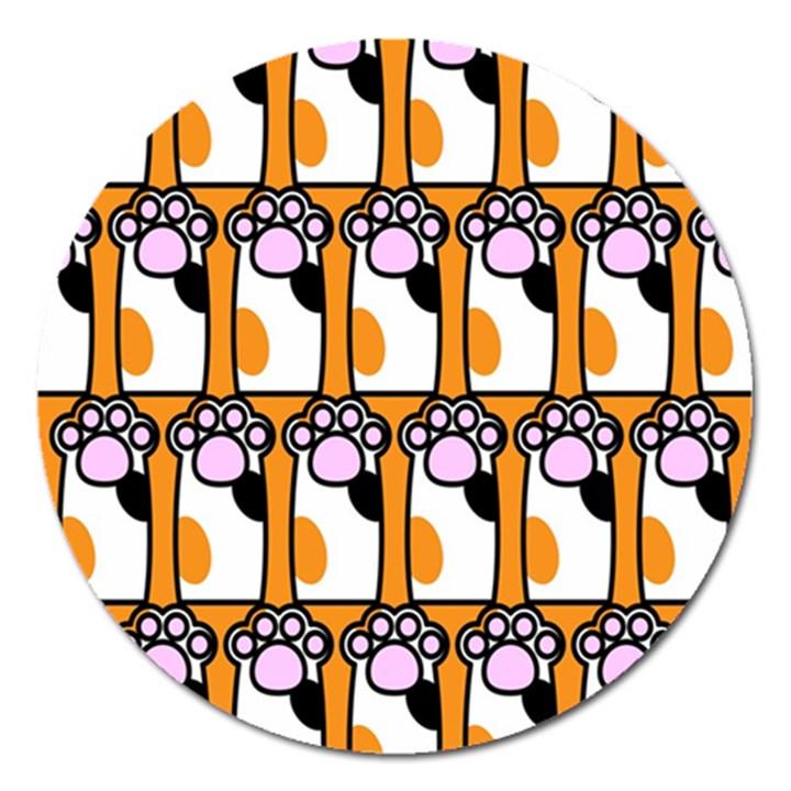 Cute Cat Hand Orange Magnet 5  (Round)