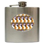 Cute Cat Hand Orange Hip Flask (6 oz) Front