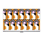 Cute Cat Hand Orange Business Card Holders Front