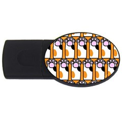 Cute Cat Hand Orange USB Flash Drive Oval (1 GB)