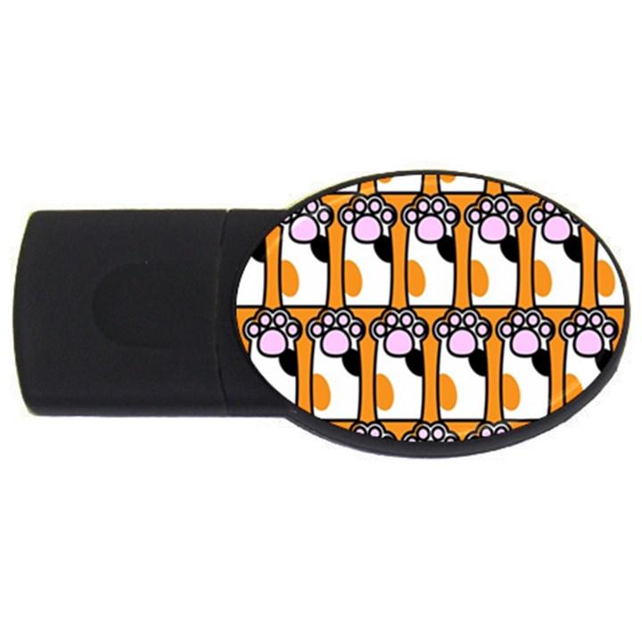 Cute Cat Hand Orange USB Flash Drive Oval (1 GB)