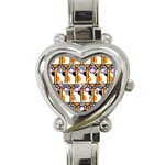 Cute Cat Hand Orange Heart Italian Charm Watch Front