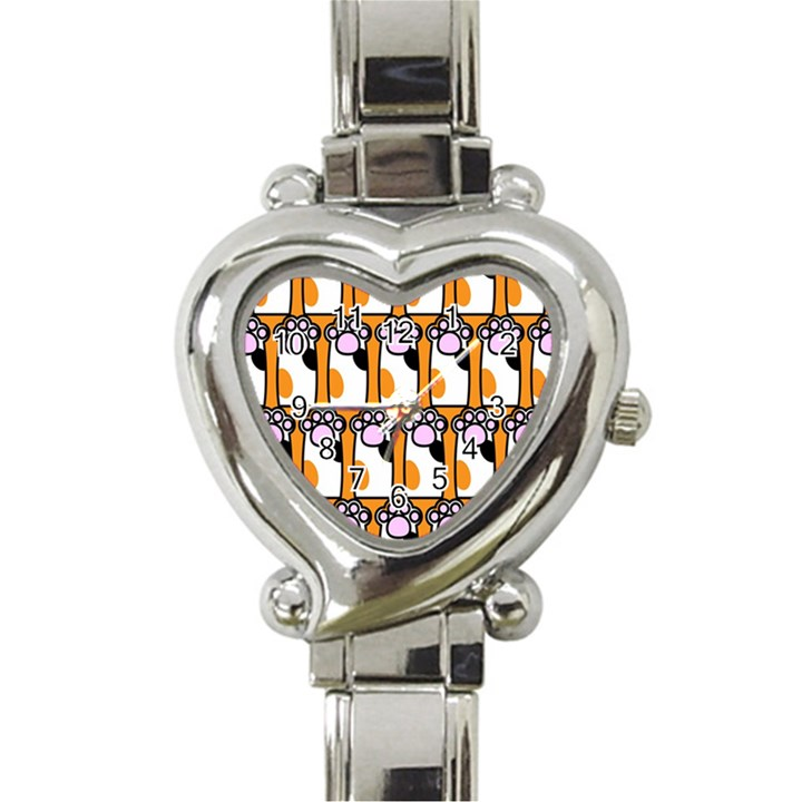 Cute Cat Hand Orange Heart Italian Charm Watch