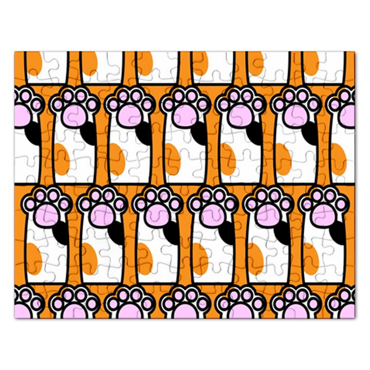 Cute Cat Hand Orange Rectangular Jigsaw Puzzl