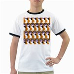 Cute Cat Hand Orange Ringer T-Shirts Front
