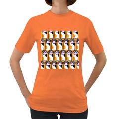 Cute Cat Hand Orange Women s Dark T-Shirt