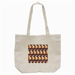 Cute Cat Hand Orange Tote Bag (Cream)