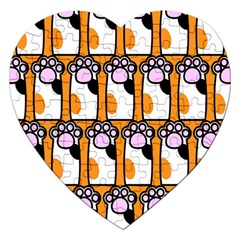 Cute Cat Hand Orange Jigsaw Puzzle (Heart)