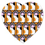 Cute Cat Hand Orange Jigsaw Puzzle (Heart) Front