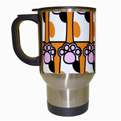 Cute Cat Hand Orange Travel Mugs (white)