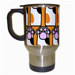 Cute Cat Hand Orange Travel Mugs (White) Left