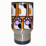 Cute Cat Hand Orange Travel Mugs (White) Center